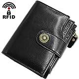 Geldbörse Damen Viele Fächer Kleine Echtleder Damen Portemonnaie mit Reißverschluss, RFID Schutz Damengeldbeutel Leder mit Münzfach und 12 Kartenfächer Portmonee Frauen Brieftasche Klein (Schwarz1)