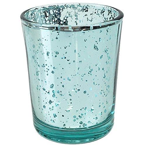 Just Artifacts Quecksilber Glas Votiv-Kerzenhalter Einheitsgröße Aquamarin (Silber-quecksilber Glas Votives)