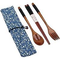 Juego de 5 cubiertos de madera Startostar con bolsa para irse de campamento, viaje, picnic, o para usar en la oficina, casa, escuela (incluye tenedor, cuchara, palillos)