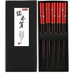 Madera/Madera Palillos, aoosy 5pares japonés estilo saludable y respetuoso con el medio ambiente reutilizable juego de palillos con funda para chino japonés cena