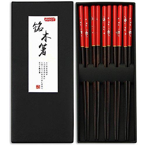 Legno/5 paia di bacchette di legno, aoosy stile giapponese sano ed eco-friendly riutilizzabile bacchette set con custodia per cena giapponese cinese