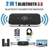 Adaptateur émetteur-récepteur Bluetooth Audio sans Fil stéréo 2 en 1, Noir...