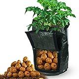 Warooma 2Pack Grow bag 7gallone secchio patata pianta Grow bag PE impermeabile giardino in borsa con manici e patta di accesso per coltivare ortaggi Multispecifiche patata, carota, pomodoro