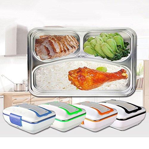 Box Lunch Box Verwendung im Büro und zu Hause verwenden TKSTAR elektrische Lunchbox Thermo 12V 45W Box Food Box Edelstahl Mahlzeit, Boxen abnehmbare Reinigung Mahlzeit 3 Fach Lunchbox (blau)