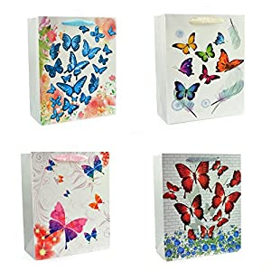 Gifts 4 All Occasions Limited SHATCHI-602 - Bolsas de papel para regalo (4 unidades), diseño de mariposas, multicolor