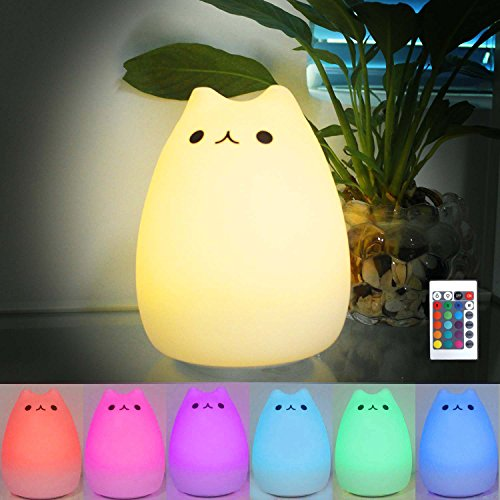 16 Farben Nachttischlampe für Kinder mit Multifunktionaler Fernbedienung&eingebaute Akku Touch Lampe Katze LED Beleuchtung Nachtlicht Spielzeug für Schlafzimmer Kinderzimmer Mädchen Baby Katzelieber