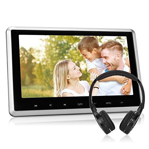 """Auto HD Monitor 10,1"""" Zoll DVD Player mit Fernbedienung Kopfhörer Kfz unterstützt Spiel HDMI USB SD FM IR für Kinder TFT LCD Bildschirm NAVISKAUTO CH1003S"""