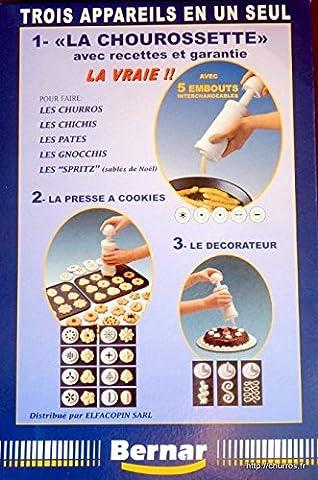 Chourossette 21 embouts. Trois appareils en un pour faire des churros dont des churros creux + une presse à cookies 8 embouts + 3 pour la décoration des gâteaux et des entrées + livret de recettes