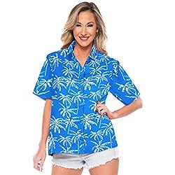LA LEELA Camisa Hawaiana para la categoría de Vacaciones Playa de Las Mujeres dailywear Ocasional Partido XL - ES Tamaño :- 48-50 Azul_AA141
