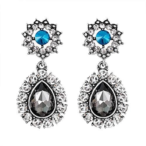MOTOCO Mode Zirkon Ohrringe lieben Herz Ohrringe für Mädchen(Grau)