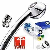 Handbrause-Set SwissClima BLACK POWER: 1 Duschkopf wassersparend, druckaufbauend, kräftiger und weicher Strahl, Dusch-Winkelstück, mit 3 Zusatzreglern für 4 Wassermengen, Schweizer Produktion