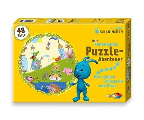 Noris Spiele 606037364 - Kikaninchen Puzzle, Wir spielen Prinzessin und Pirat, 48 Teile