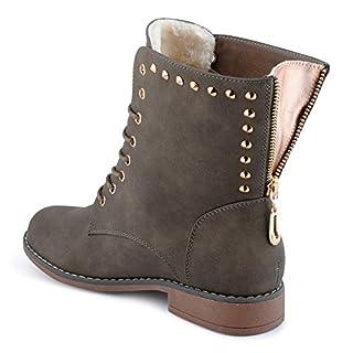 Damen Stiefeletten Stiefel Nieten Warm Gefüttert Reißverschluss Blockabsatz Schnürstiefel Bikerboots Schuhe Oliv/gefüttert EU 39