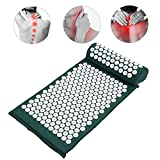 Anself Massager Cushion Acupressure Mat Relieve Stress Pain Acupuncture Massage Pillow Spike Yoga Mat with Pillow (Green)