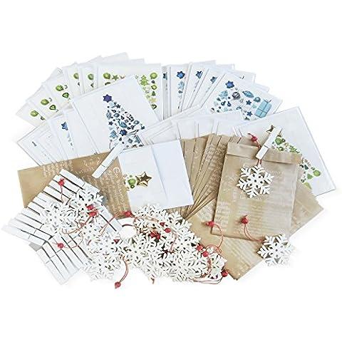 Conjunto de 80piezas Navidad compuesto de bolsas de regalo con trazos, verdes y azules Tarjetas de Navidad DIN A6vertical con KUVERT, Colgantes y grapas