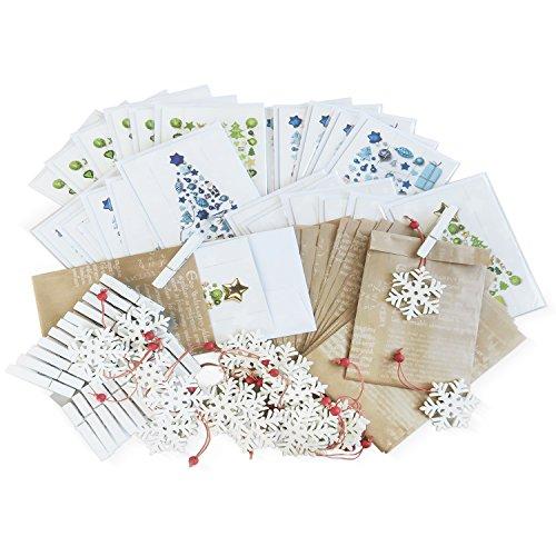 eko SET: 20 kleine Geschenkschachtel Weihnachten + je 10 blau weiße + 10 grün goldene Weihnachtskarte + 20 weiße Klammern + 20 Weihnachtsanhänger Schneeflocke ()