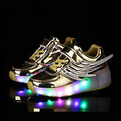 FZUU New 2017 Kind Jazzy Junior Mädchen Jungen LED Licht Roller Skate casual Schuhe für Kinder Kinder leuchtende Turnschuhe mit Rädern Gold