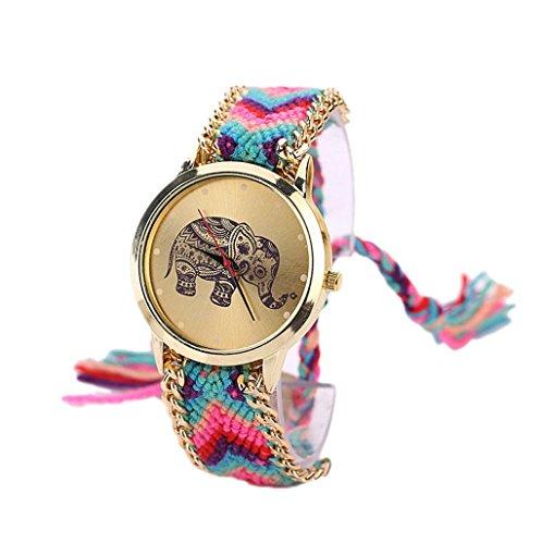 Sannysis® 1 PC Mujeres de la Manera del Regalo del Modelo, Elefante Cuerda Teje Band Pulsera de Cuarzo Esfera de un Reloj Azul Claro+Rosa Caliente