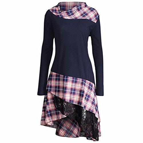 Cap Sleeve T-shirt Jersey (OverDose Damen Elegant Langarm Kariertes T-shirt Kleider Blusen Kleider Casual Spitze Patchwork Partykleider Blusenkleid(A-Navy ,EU-40/CN-L))