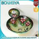 Financiale Art grün runden Glaswaschbecken/gehärtetes Glas zeitgenössischen Waschbecken gesetzt (T12mm * Φ420mm * H145mm)