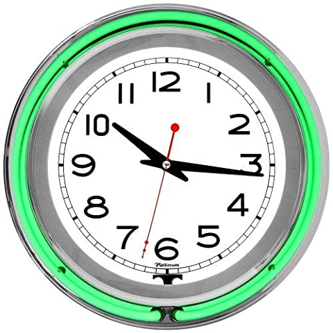 Trademark Gameroom Green Chrome Double Ring Neon Clock, 14 by Trademark Gameroom