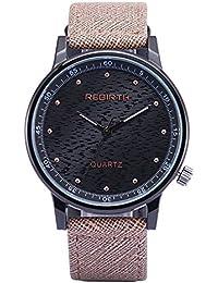 vestido de la cara negro correa de cuero relojes grandes púrpura de la moda de la mujer popular del reloj reloj unisex…