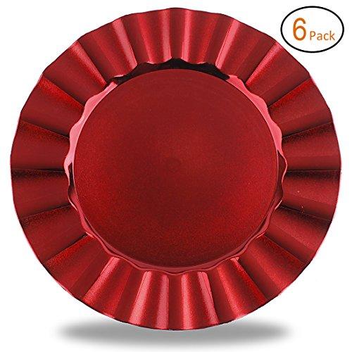 nd 33x 33cm Platzteller mit eletroplating Finish Wave Edge Red ()