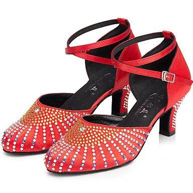 Scarpe da ballo-Personalizzabile-Da donna-Balli latino-americani-Tacco a rocchetto-Raso-Nero Rosa Rosso Red