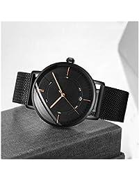 ddf6815daa3f Dyfzxy Reloj de los Hombres Cuarzo Deportes Ocasionales Moda Simple Correa  de Malla metálica Impermeable Negro