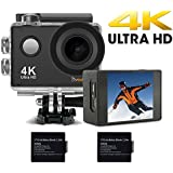 DVEETECH S2 16Mp Sports Action Camera 4K Wifi Waterproof 30M 1080p Full HD Underwater Cam Mini Portable Camcorder DV Video 170Ultra Wide-Angle Len With SONY Sensor,2x900mAh Rechargeable Batteries