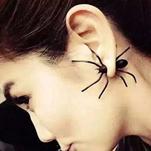 Ohrringe Ohrstecker für Damen Herren Unisex mit Spinne - passende Kette erhältlich - Ideal für Halloween Kostüm Karneval Fasching Weihnachten