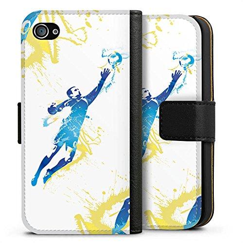 Apple iPhone X Silikon Hülle Case Schutzhülle Torhüter Fußball Torwart Sideflip Tasche schwarz