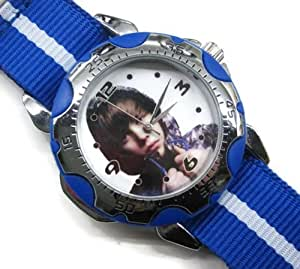 Uhren NEU Leder Herren Armbanduhren Geschenk SUSP47 Rotating Bezel Sporty Wrist Watch + Nylon Strap Blue - Justin Bieber #2