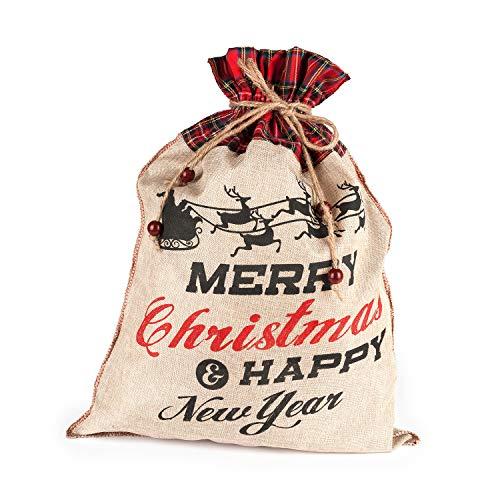 Pajoma Calendario dell'Avvento XXL con Babbo Natale, Sacco di Iuta da riempire
