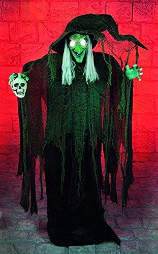 Animierte 1,8 Meter großen Halloween Hexe stehend, Ideal als Fenster für die Veranda