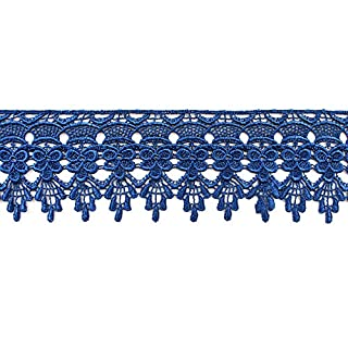 Altotux 3 Royal Blue Cobalt Embroidered Floral Scalloped Venice Lace Trim Victorian Guipure Sewing Supplies By Yard (CX002) by Altotux