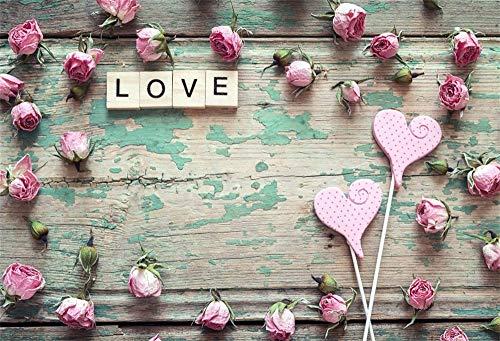 l Foto Hintergrund Schäbige Holzplatte Rosen Blumen Herzform Lutscher Wort Liebe Fotografie Hintergrund Backdrop Fotostudio Hintergründe Requisiten ()