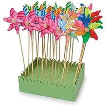 Windräder im 24er Set, schöne Gartendeko in Blumenkübeln und Beeten
