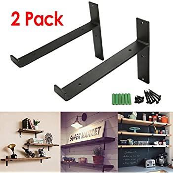 kingso 2pcs 20x15cm modern industrial solid metal shelf angle brackets metal lift l shelf metal floating shelf hanging display rack
