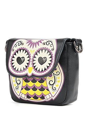 Donne signore ragazze Cartoon Owl e floreali borsa croce corpo borsa Messenger Borsa a tracolla singola Satchel Nero