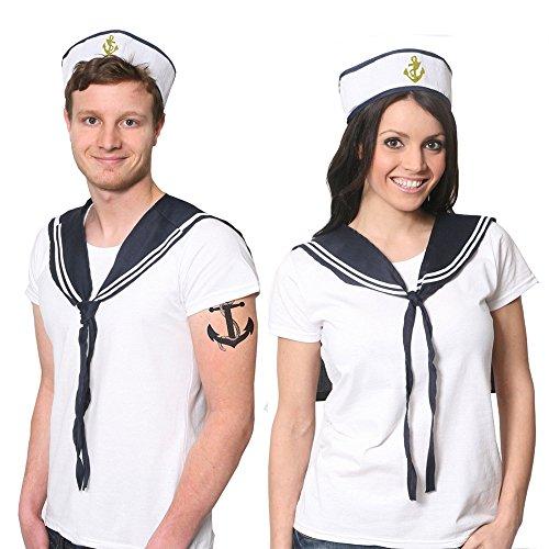 Kostüm Paare Dress Billig Fancy - ILOVEFANCYDRESS, Paare Sailoren-Set, Kostümzubehör, Unisex, weiße Hut, Blaue Bestickung, Marineblau und Weiß