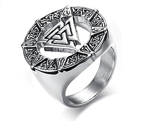 Vnox Hommes en acier inoxydable Valknot Rune nordique Hrungnir Nœud Viking Signet Bague de mariage Anneau en étain