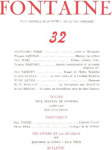 Fontaine n32 Revue Mensuelle de la Posie et des Lettres Franaises