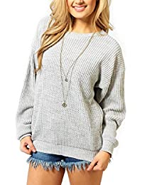 Womens Ladies Baggy Long Sleeve Knitted Plain Chunky Top Sweater Jumper S-XL