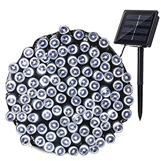 lederTEK Solar Powered Waterproof Fairy String Lights 72ft 22m 200 LED 8 Modes Christmas Decorative Lamp for Outdoor, Garden, Home, Wedding, Xmas Tree New Year Party (White)