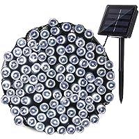 Qedertek Cadena de luces con Energía Solar 22M 200 LED Guirnalda de luces para Exterior Cadena de Luz LED Decoración para Jardín Patio Piso Vacaciones Fiesta Boda Guirnalda Árbol de Navidad (Blanco)