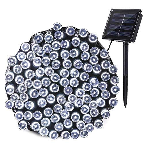 NEXVIN Guirnalda Luces Exterior Solar, Luces Navidad 22M 200 LED, Cadena de Luces Solares Exterior, Iluminación Luces Impermeable para Decorar Patio, Jardín, Terraza, Boda, Fiesta, Navidad (Blanco)