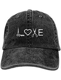 Nifdhkw Peluquería Peluquería Amor Sombrero de Mezclilla Sombreros de béisbol Ajustables para Hombres Multicolor56