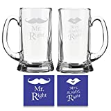 #2: TYYC Valentine Anniversary Gifts for Couples, Mr Right Mrs Always Right Engraved Beer mugs Set of 2 for Husband Wife with Coasters