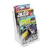 Kurtzy 3-stufiger A4 Acryl Prospekthalter - 23 x 15cm Breiter Dokument Organizer mit Entfernbarer Trennwand für Poster, Broschüren, Zeitschriften - Wand-montierter oder Arbeitsplatten -Flyerhalter